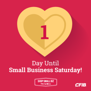 1 day until Small Business Saturday!